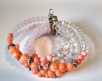 Coral Pink Beaded Bangle Cuff Bracelet