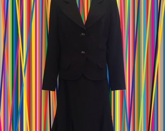 Vintage 90's Dana Buchman Skirt Suit • Black Wool • Rounded Lapels • Slight Trumpet Hem