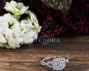 Cushion Cut Engagement Ring in Solid 14k or 18k White Gold Bridal by Zhedora, White Gold Cushion Engagement Ring, Halo Cushion Ring