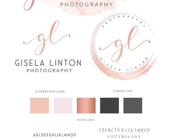 Watercolor Logo Design, Logo Design, Rose gold Branding kit Logo Design Premade Branding Package, stamp, Photography Logo, watermark