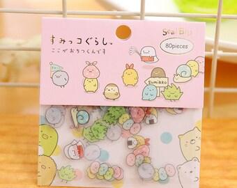 Sumikko Gurashi Stickers / Sumikko Gurashi Sticker Flakes / Kawaii Stickers / Cute Stickers / San-X Stationery / Sumikko Gurashi Sticker Set