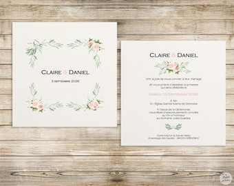 Pink-olive - invitation - wedding invitation collection