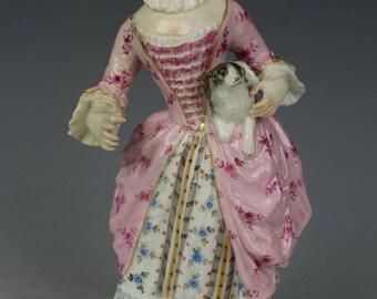 """Antique Meissen Figurine """"Girl Holding Dog"""""""
