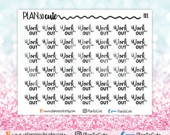 Work Out Script Word Planner Stickers, Functional planner stickers -122