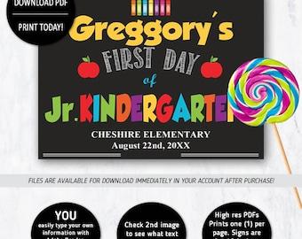 First Day of School, Photo Prop, Back to School, School Photo Prop, Jr Kindergarten, Beginning of Year, Junior Kindergarten,first day school
