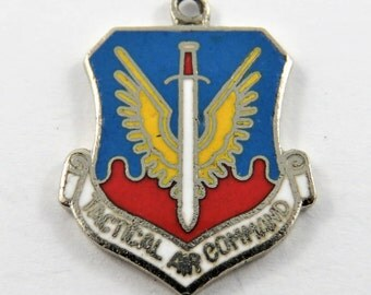 Enameled Emblem of Tactical Air Command Sterling Silver Charm of Pendant.