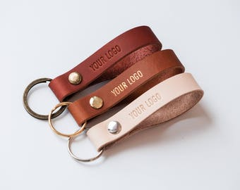 Wholesale Corporate Gifts Ideas - Custom Logo Leather Keychain - Personal ized Company Christmas Gift for Employee - Bulk Leather Keychain