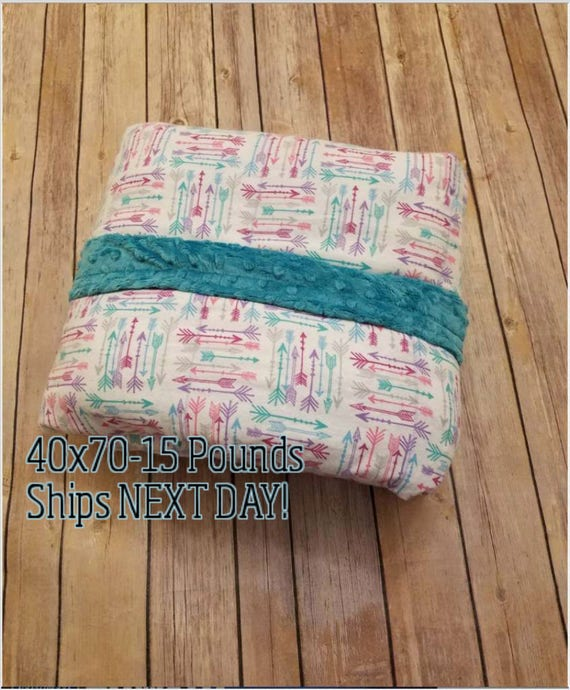 Minky Weighted Blanket, 15 Pound, Arrows, Teal Minky, 40x70, READY TO SHIP, Twin Size, Adult Weighted Blanket, Next Business Day To Ship