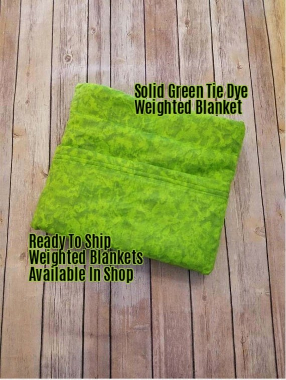 Solid Color, Weighted Blanket, Green Tie Dye, Up to Twin Size 3 to 15 Pounds.  SPD, Autism, Weighted Blanket.