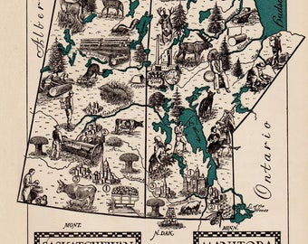 Whimsical CANADA Map Manitoba Map of Saskatchewan Map Print 1940s Pictorial Map Travel Map Gallery Wall Art Home Decor