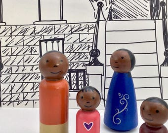 Peg Doll Family - Dollhouse Family - African American - Wooden Peg Dolls - Ready to Ship - Large Dollhouse Dolls