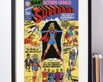 Supergirl Poster / Girl Superhero Wall Art / DC Comics Supergirl Art / Geeky Girl Wall Art / Dorm Room Decor / Nerdy Girl Gift / Geeky Baby