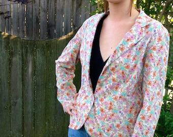 Vintage 90s Floral Jacket 14 // Botanical Blazer Flowers Galore  Medium // Vintage Designer Floral Blazer Large
