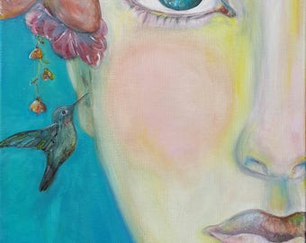 """Blue eyes colorful """"The Secret"""" Nature lovers Flowers sisters & hummingbird friends art gift 8 x 10 print or cards of original oil painting"""