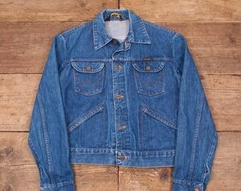 """Mens Vintage Wrangler Dark Blue Denim Trucker Jacket Small 36"""" R5817"""