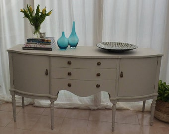 Elegant Regency/Gustavian style sideboard hand painted using FARROW & BALL Purbeck Stone - a beautiful timeless soft grey