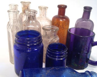 Bottle lot, Purple glass bottles, lot of 12,  clear, blue, cobalt, brown, Apothecary medicine Bottles, More, free shipping