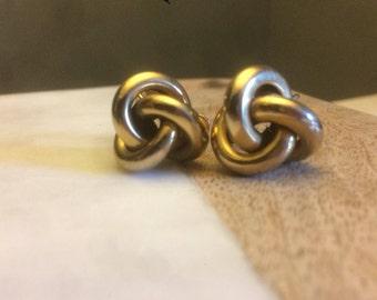 Vintage Les Bernard Gold Plated Knot Screw Back Earrings, Les Bernard Gold Wash Knot Earrings, Gold Screw Back Earrings, Gift for Mom