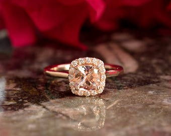 Cushion Cut Pink Morganite Engagement Ring in a Classic Halo Setting Made with Solid 14k Rose Gold