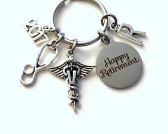 Retirement Gift for Veterinarian Keychain 2017 2018 Caduceus Medical Animal Doctor Key chain Keyring Coworker Initial letter PH D V Vet him