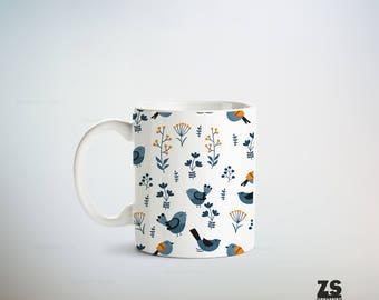 Taza diseño estilo nórdico, diseños naturaleza en colores nórdicos, regala taza para navidad