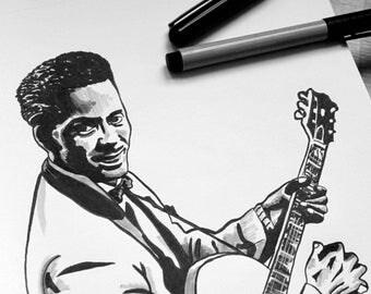 Chuck Berry, Rock, Guitar, Illustration, Music, USA