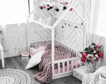 House bed, children bed, toddler bed, kids teepee, wood house, baby bed, Montessori toys, children bedroom bed house, tent, gift SLATS