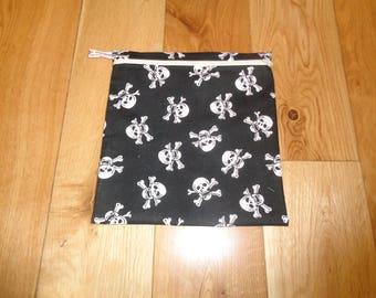 Sandwich bag  - Baggie - Eco - Snack Bag - Bikini Bag - Lunch Bag - Tool Bag - Large Poppins Waterproof Lined Zip Pouch - Black White Skull