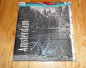 Sandwich bag  - Baggie - Eco - Snack Bag - Bikini Bag - Lunch Bag - Tool Bag - Large Poppins Waterproof Lined Zip Pouch - Amsterdam Bicycle