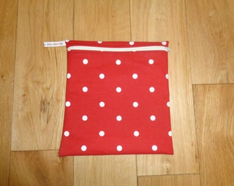Toiletries Bag - Make Up Bag -  Bikini Bag -  Sandwich bag  -  Eco - Craft Bag - Large Poppins Waterproof Lined Zip Pouch - Red White Dot
