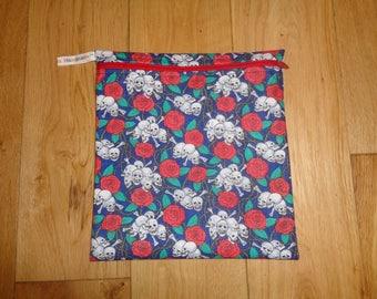 Bikini Bag - Toiletries Bag - Make Up Bag - Sandwich bag  -  Eco - Craft Bag - Large Poppins Waterproof Lined Zip Pouch - Floral Skull