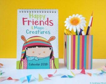 Funny Desk Calendar 2018, Illustrated Desk Calendar, Unicorn Calendar, School Planner 2018, Children Calendar 2018, Cute Planner for Kids