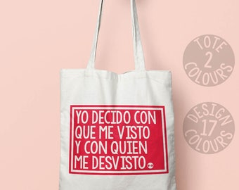 Yo Decido Catalonia eco-friendly reusable canvas tote bag, book bag, gift ideas for spanish girl, strong woman, protest rally, españa