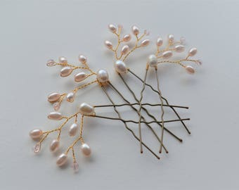 Bridal hair pins, set of 4 gold or silver and blush pink with freshwater pearls wedding hair pins