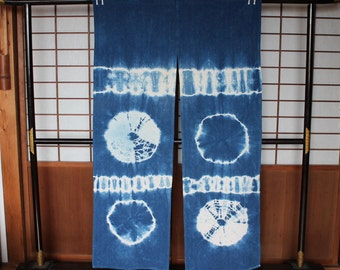 Japanese Noren, Vintage Indigo Dyed Shibori Cotton Noren Split Curtain,  Indigo Blue U0026 White