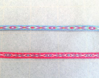 Narrow Trim in Neon Colors for Sewing or Adornment, Blue, Pink, Mini Trim, Skinny 3/16 inch, Sold in 3 yard increments