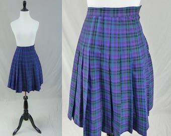"""60s Schoolgirl Skirt - Purple Pleated Plaid - School Girl Juniorite - Vintage 1960s - XS 21"""" waist"""