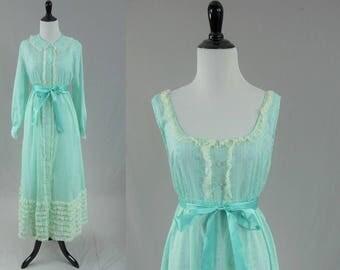 60s Peignoir Set - Blue White Cotton Blend - Satin Ribbon - Robe Nightgown - Lady Weldon - Vintage 1960s - M