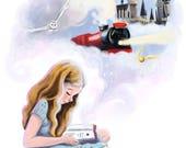 Harry Potter,fanart,girl,reading,download,printable,jpeg