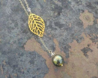 Green Tahitian Pearl Leaf Lariat/Y Necklace
