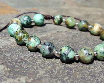 Healing Gemstone African Turquoise Mala Bracelet - 8mm Beads, Yoga Jewelry, Cute Affordable Fashion, Girly Gems, Anniversary Gift Ideas, 108