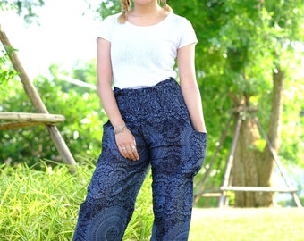 Hobo pants hippie pants harem pants flower pants deep blue