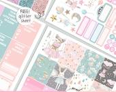 Sweet Dreams - KIT - PRINTABLE silhouette cut file , printable sticker planner,  printable planner stickers Erin Condren Life Planner