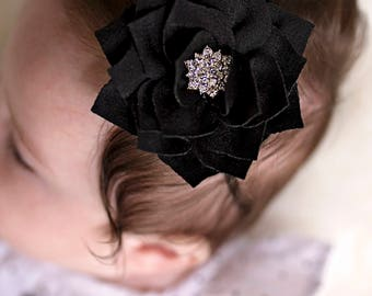 Headband - Black rhinestone flower- New Mom Newborn girl take home outfit - elegant newborn girl headband - photo prop headband - baby girl