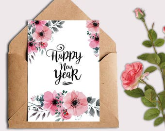 Happy New year card 2018, New year printable card, holiday cards, new years cards for instant download