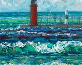 South Haven, Lake Michigan, Pier, Beach Life, Pure Michigan, Lake Painting, Water Art, Lighthouse Painitng