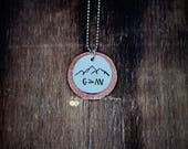 Hand stamped necklace, God is greater than the highs and lows, copper pendant necklace, christian jewelry, mountain necklace