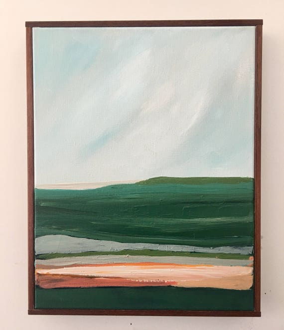 Green and Pink Modern Seascape Abstract Original Painting
