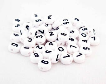 """NL42 - Pearls sold number """"2-3-4-5-6-7-8-9"""" figure choice white of 7mm"""