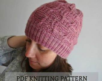 KNITTING PATTERN: Atenea hat, knitted beanie / Instant download PDF
